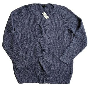Talbots Sweater Sz X Knotted Front Cable Knit Blue